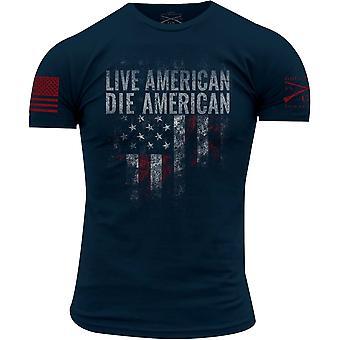 Grugnito stile Live Die americano americano girocollo t-Shirt - Navy