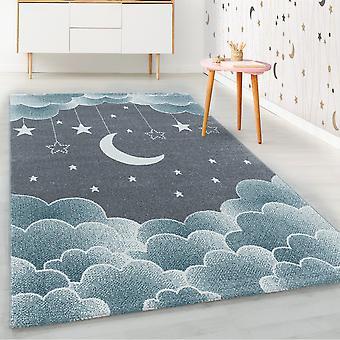 ShortFlor Kids Tæppe Blå Stjerneklar Sky Moon Sky Skyer Design Nursery Soft
