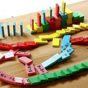 Baby Domino Block Montessori Træ Math Legetøj
