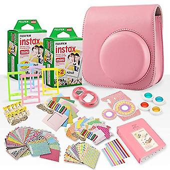 Fujifilm instax mini película instantánea + fujifilm instax flamingo rosa paquete accesorio de 168 piezas con caja de cámara, selfie ps73447