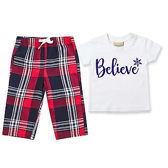 Childrens Believe Tartan Hose Pyjamas