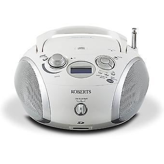 DZK Radio Zoombox3 DAB/DAB+/FM/SD/USB Radio with CD Player, White