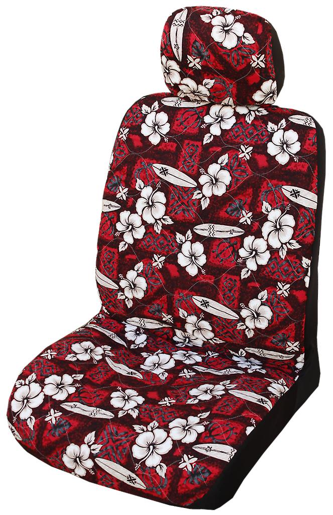 Side Airbag Optional; Hibiscus Surf Separate Headrests Hawaiian Car Seat Covers
