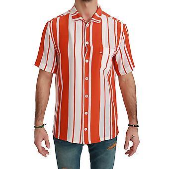 Orange sidenrandig kortärmad vit skjorta