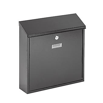 Wall Mounted Post Box - Secure Outdoor Lockable Mailbox Letterbox 2 Keys - Black