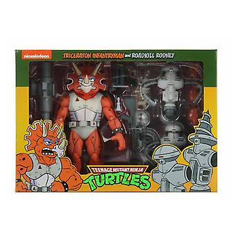 NECA TMNT Triceraton Infantry Man & Roadkill Rodney Cartoon 2-Pack 7 Inch Action Figure