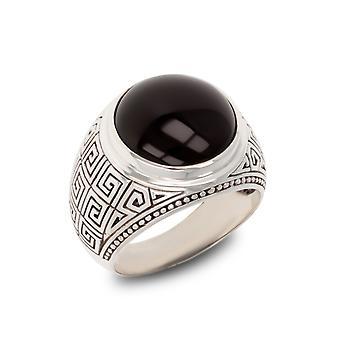 ADEN Antik-Effekt 925 Sterling Silber Onyx Biker Ring (id 3955)