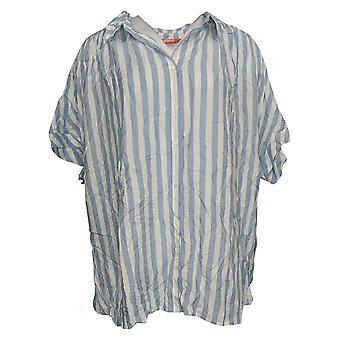 All Worthy Hunter McGrady Women's Plus Top Oversized Shirt Blue A379496