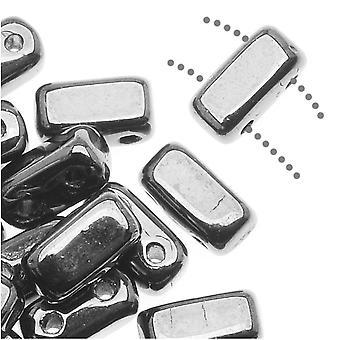 CzechMates Glass 2-Hole Rectangle Brick Beads 6x3mm - Silver (1 Strand)
