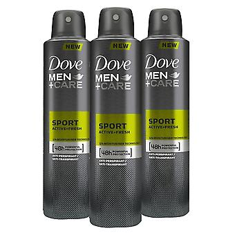 3pk varje Duva Män +Care Sport Active+Fresh Bodywash 400ml & Antiperspirant 250ml