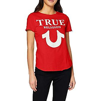 True Religion Crew Tshirt Logo Puffy Print T-Shirt, Red (Red 1763), 42 (Size Manufacturer: Small) Woman