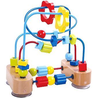 Kleine Motorikschleife mit bunten Holz-Elementen und farbigen Schleifen - 3 lange und 2 kurze