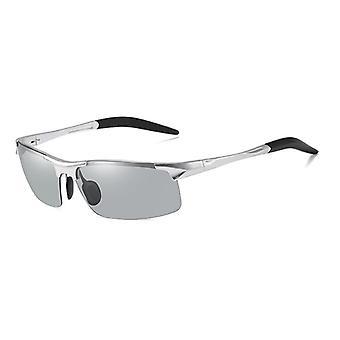 Aluminiowe okulary fotochromowe bez oprawek, spolaryzowane okulary do jazdy dziennej