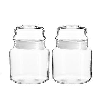 2x Sera Glass Storage Jars Kitchen Sweet Candy Food Pots Sealed Lid 635ml Blanco
