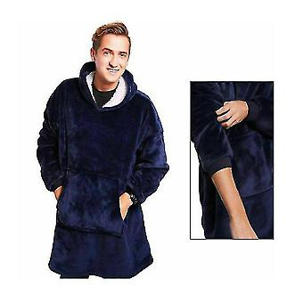 Adult Super Soft Loose Oodie-comfy Nightware Fleece Blanket(Blue)