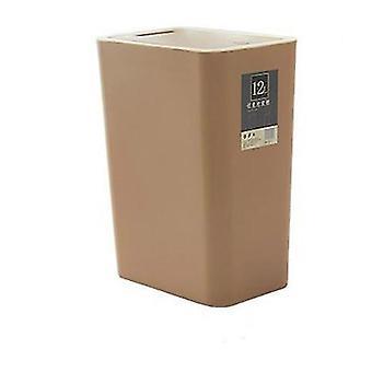 12 litres de poubelle de tri, poubelle en plastique rectangulaire avec couvercle (Brun)