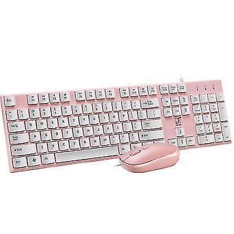 Ultra ince kablolu USB klavye ve fare değiştirme kiti (Pembe)