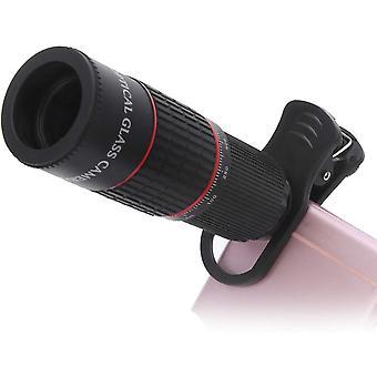 Téléobjectif de téléphone portable, lentille de verre optique HD à grossissement 20x Télescope externe pour l'observation des oiseaux, concert, match,(noir)