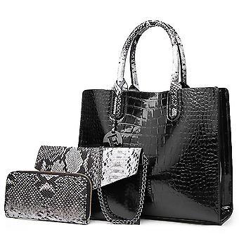 Fashion women's bag three-piece one-shoulder portable diagonal ladies bag(Black)