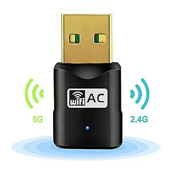 600 Mbps 2.4-5Ghz USB Dual Band Wireless Adapter WiFi Dongle 802.11 AC Laptop PC
