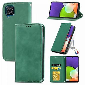 Case For Samsung Galaxy A22 4g Magnetic Closure Leather Wallet Cover Housse Etui Shockproof - Green