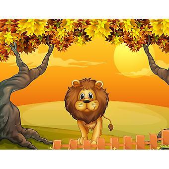 Tapetmaleri en løve i nærheten av tregjerdet