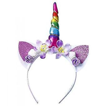 Dream Unicorn Flower Hair Hoop Children's Birthday Gift(Colorful)