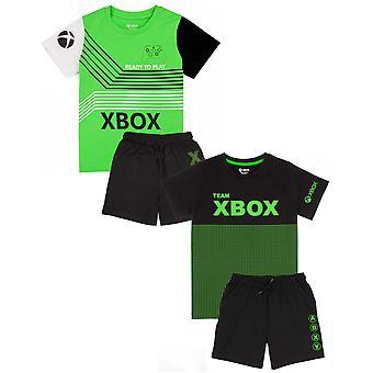XBOX pizsama fiúknak | Kids Green VAGY fekete szín lehetőségek póló & gt; Rövidnadrág Gamer Pjs | Játékkonzol áru ajándékok