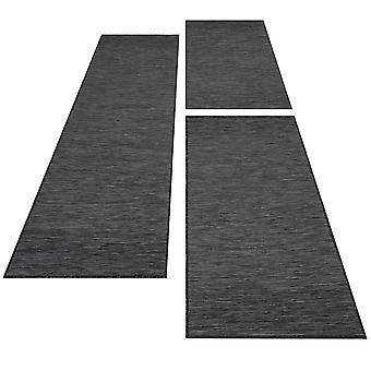 Bord de lit tissu plat Tissu plat sisal optique tapis 3 pièces de coureurs noir gris