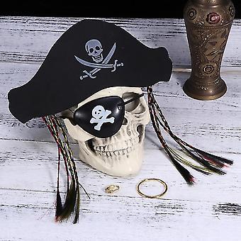 Accessoire pirate d'Halloween ensemble avec le masque d'oeil de chapeau et font semblant d'anneau