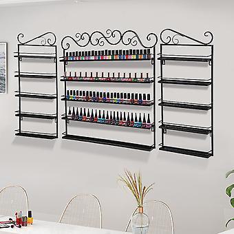 5 couches métal Vernis à ongles Set Vernis Étagère Murale Display Rack Noir