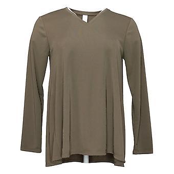 MarlaWynne Women's Top Luxe Jersey V Neck Butterfly Tee Green 712028
