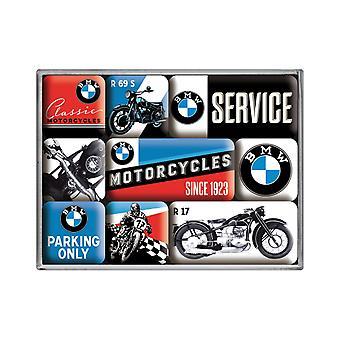Uppsättning av 9 Vintage BMW Motorcykel Nostalgiska Magneter