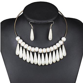 European Big-name Fashion Necklace Gauze Woven All-match Clothing Accessories Necklace Female Pearl Necklace