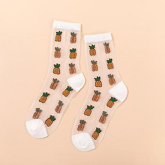 Womens novelty harajuku crystal silk tide socks for summer with patterns(Berry)