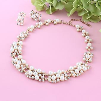 Jäljitelmä Pearl kullattu yksinkertainen tyylikäs morsiamen korusarjat sarja lahja