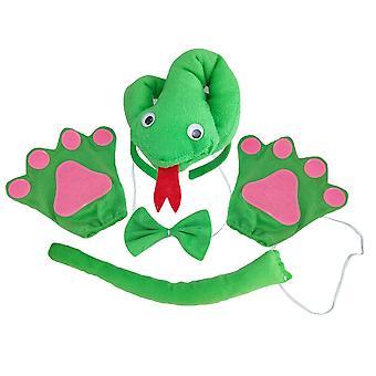 4pcs Enfants Dessin animé Costume Costume Bandeau Nœud papillon Gants Et Queue Set Jeu de rôle Accessoires d'animaux Set Performance Props Pour Cosplay Party (trois centimes