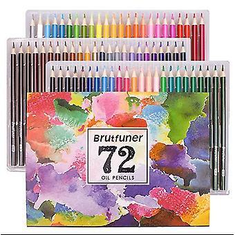 72 Color Profesional Óleo Lápiz Juego de Dibujo Escolar Boceto Suministros de Arte
