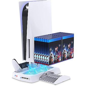 Support Vertical Avec Ventilateur De Refroidissement Pour Console Ps5 Et Playstation 5 Digitaledition-whtite