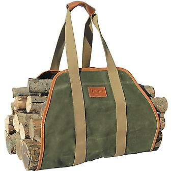 """Portable Waxed Canvas Log Carrier Tote Bag,40""""x19"""" Firewood Holder"""