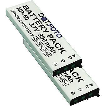 2 x Dot.Foto Casio NP-50 udskiftningsbatteri - 3.7V / 950mAh
