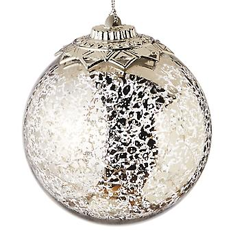 Lights Up Silver Crackle Ball Christmas Holiday 4.5 Inch Ornament Midwest CBK