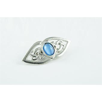 Fatto a mano doppio nodo celtico blu Moonstone spilla peltro