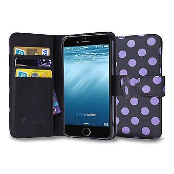 iPhone 6s Plus Case, i-Blason, Waller Case with Credit Card Id Holders-Black/Purple