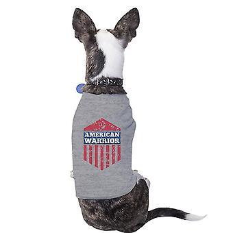 قميص رمادي لطيف الحيوانات الأليفة الرسم المحارب الأمريكي لعيد الاستقلال