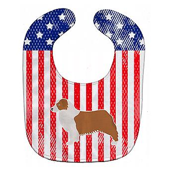 Carolines trésors BB3333BIB USA patriotique Australian Shepherd Dog Baby Bib