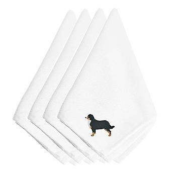 Bernese Mountain Dog Embroidered Napkins Set of 4