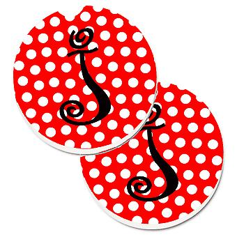 Letra J monograma inicial rojo lunares negro juego de 2 tazas porta coche posavasos
