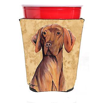 Carolines skatter SC9132RSC hundvalp (sittande) röda Solo Cup dryck isolator Hugger