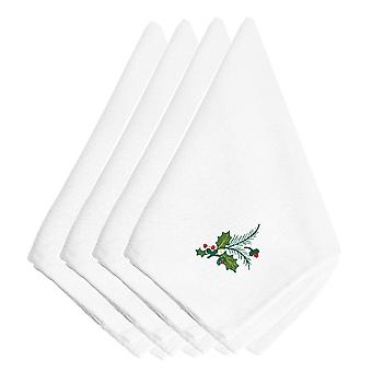 Christmas Holly Sprig Embroidered Napkins Set of 4